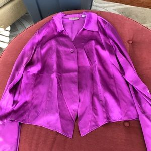 Purple/Pink Long Sleeve Silk Blouse